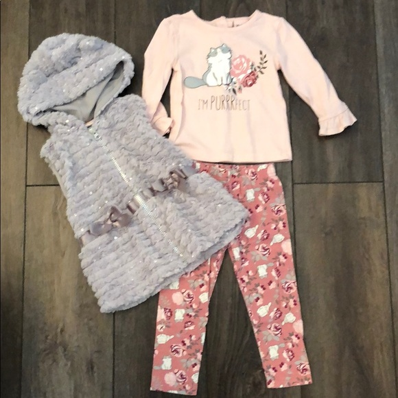 Little Lass Other - Toddler Cat tee/pant/vest outfit